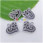 12/36/100pcs 14mm Tibetan Silver 3D Hollow Fancy Heart Charms Pendants Bead P324