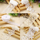 Flower Floral Lace Trim Wedding Bridal Dress Ribbon Applique Sewing Craft