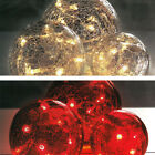 3 Crackle Glass Ball Lights LED Red/Clear Lighting NEW