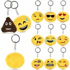 Emoji Emoticon Key Chain Clip Key Ring Yellow Round Stuffed Plush Smiley Toy New