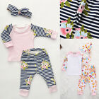 3Pcs Toddler Kids Baby Girls Autumn Clothes T-shirt Tops+Pants Outfits Set 0-2Y