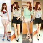 Sweet Women Lady Korean Style Crochet Tiered Lace Dress Shorts Skorts Short Pant