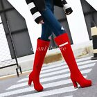 New Over The Knee Boots Womens Side Zip High Heel Platform Round Toe Party Shoes