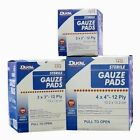 "NEW Sterile 12-Ply 100% Cotton Gauze Pads 100  2x2""  3x3""  4x4"" Sponges New Box"