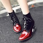 New Women's Round Toe Lace Up Warm Mid Calf Boots Patent Leather Stylish Shoes