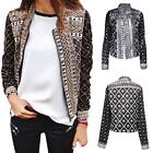 Fashion Womens Long Sleeve Casual Vintage Floral Suit Blazer Jacket Coat Outwear