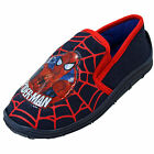 Marvel Super Hero Spiderman Kids  Elastic Sides Boys Slip On Blue Red Slippers