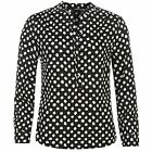 Full Circle Womens Printed Blouse Chiffon Long Sleeve Grandad Collar Neck Top