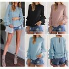Women Long Sleeve Flounce Bell Long Sleeve Key Hole Casual Tops Blouse T-shirt