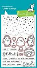 Snow Cool -Clear Stamps LF1226 Or Craft Dies 1227- Lawn Fawn- Penguin Igloo Fish