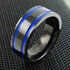 8mm Black Titanium Men's Ring Blue Racing Stripes Wedding Band