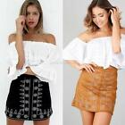 Autumn Women Suede Leather Skirts Fashion Slim Waist Bandage Skirt Mini Dress