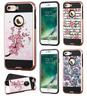 For Apple iPhone 7 & 7 PLUS Brushed Metal HYBRID Rubber Case Phone Cover