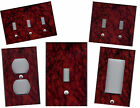 RED BURGUNDY BLACK MARBLE TILE PRINT - HOME WALL DECOR LIGHT SWITCH PLATE