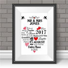 Wedding Print Personalised Word Art Gift Marriage Anniversary N101 Unframed