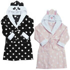 Girls Panda Dressing Gown Hooded Animal Face Dressing Gown Ages 2-3 to 13 Years