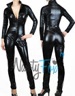 Sexy Black Gothic Metallic Black Bodysuit Catsuit Zip Up Halloween Costume M