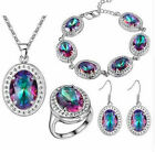 Fashion Women crystal Plated Silver pendant Bracelet Ring Earring Set