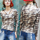 New Womens Long Sleeve Shirt Camouflage Jumper Pullover T-shirt Slim Top Blouse