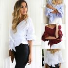New Fashion Women Off Shoulder Tee Shirt Blouse V-neck Tops Bowknot Party Wear