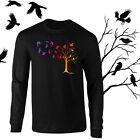 Colorful Crows in Flight Raven Art Longsleeve Black T-shirt Youth - Adult