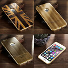 Ultra-thin Aluminium Metal Bumper Retro Wood PC Back Case for Apple iPhone Model
