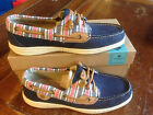 NIB Sperry Top-Sider Ivyfish Stripe Boat Shoes Navy Leather Size 7, 7.5, 8, 8.5M