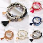 New Multilayer Womens Fashion Charm Flower Beads Bracelet Jewelry Tassel Bangle