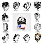 Mens Stainless Steel Gothic Skull Rings 316L Biker MotorCycle Jewelry Lots 8-15