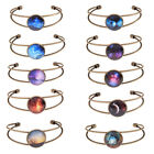 Women Glass Dome Cabochon Bangle Starry Sky Bracelet Open Groove  Cuff  Fashion