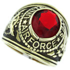 Red Stone Air Force US Military Gold Plated Mens Ring