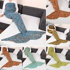 Mermaid Tail Sofa Blanket Super Warm Hand Crocheted Knitting Wool For Adult N4U8