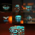 New Fashion Silver Glow in the Dark Punk Band Ring Women Men Xmas Gift Jewelry
