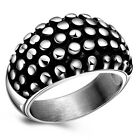 Vintage Punk Black Spots Finger Ring Band Women Mens Accessory-Silver 6/7/8/9#
