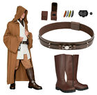 Star Wars Costume Bundle - Obi Wan Tunic Brown Jedi Robe, Belt, Boots+ from UK $370.02 AUD