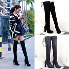 Women Lady Winter Over The Knee Suede High Heel Block Sonw Boots Shoes Size 3-5