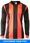 Ichnos teamwear adult size football team kit shirt red black stripes