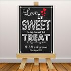 Personalised Wedding Sweet Cart Treat Sign Banner Print N109 Chalkboard Style