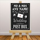 Personalised Vintage Wedding Post Box Sign Banner Print N111 Chalkboard Style
