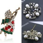 New Women Angle Square Pearl Crystal Flower Heart Christmas Brooch Pin