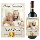 Personalised Golden 50th Wedding Anniversary Wine Champagne Bottle Label N101
