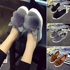 Womens Pom Pom Faux Fur Loafers Brogue Flat Trainers Pumps Shoes Slip On Ear