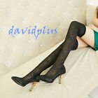 Womens Sexy over the knee high Boots Lace pull on Boots shoes stilettos club NEW