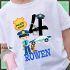 BOY POLICEMAN BIRTHDAY SHIRT PERSONALIZED NAME AGE COP CAR POLICE RESCUE