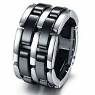 Tungsten Black & Silver Colour Mens Wedding Ring Size 5 - 11 R591