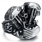 Mens Stainless Steel Ring, Vintage, Biker, Motor Engine, KR1946