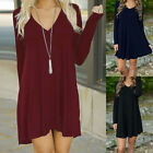Womens Winter Long Sleeve Jumper Tops Blouse Ladies Loose Sweater Mini Dress LOT