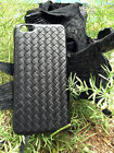 Black Genuine Embed Braided Weave Grid Calfskin Case Cover for iPhone 6 6s Plus