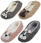 Slumberzzz Ladies Chenile Dog Character Ballet Slippers