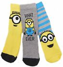 Boys Minions Three Pack Socks 9-12 12.5-3.5 and 4-6.5 Shoe Size